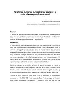 Pulsiones humanas e imaginarios sociales; la violencia una práctica ancestral / Fátima Flores Palacios