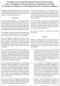 Acuerdo por el que se Establecen Políticas Institucionales para la Prevención, Atención, Sanción y Erradicación de Casos de Violencia de Género en la Universidad Nacional Autónoma de México.
