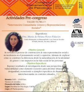"""Actividades Pre-congreso TALLER TEÓRICO: """"Intervención Comunitaria: Género y Representaciones Sociales"""""""