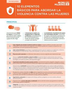 10 elementos básicos para abordar la violencia contra las mujeres.