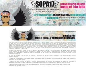 Seminario Mujer rural y memorias comunes en SOPA 17 V Congreso internacional de socialización del patrimonio en el medio rural.