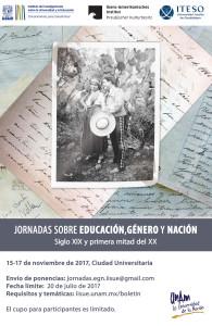 Convocatoria: Jornadas sobre Educación, Género y Nación siglo XIX y primera mitad del XX