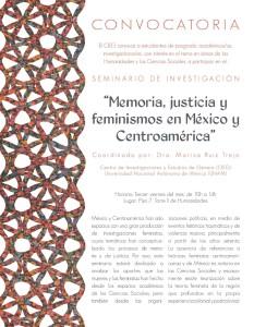 """Seminario de investigación """"Memoria, justicia y feminismos en México y Centroamérica"""""""